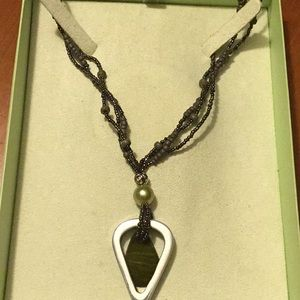 City Finds 3 Strand Necklace with Pendant